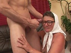 Whore granny in glasses boned hard deeply to satisfaction