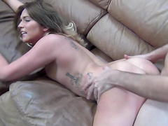Awesome Casey Stone gets her cunt drilled on the couch