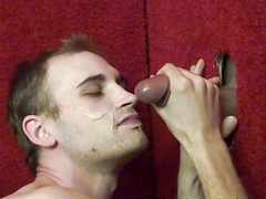 Kinky guy finally gets to blow a big cock in the glory hole