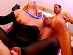 Blonde MILF finally agrees to please two guys at the same time