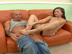 Bald guy gets to fuck Kita Zen on the couch while she moans