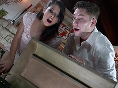 Brunette girl Gina Valentina likes it when a neighbor bangs her