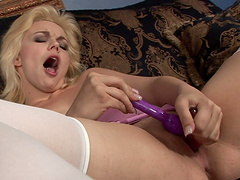 Good looking Alice Frost has fun with a long stiff dildo